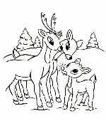 Baby Rudolph with Mom and Dad Coloring Page