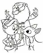 Rudolph, Hermey the Elf and Santa Claus Coloring Page