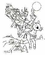 Rudolph and Santa's Sleigh Coloring Page