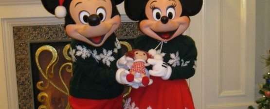 Dolly and Christmas Mickey and Minnie Mouse