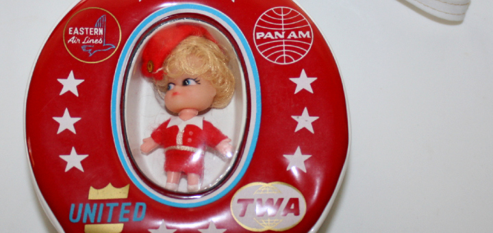 TWA STEWARDESS DOLL CASE Vintage Pan Am Airlines Liddle Kiddles Size Toy