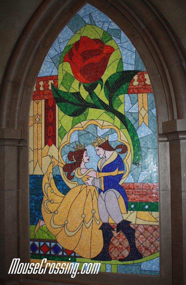 Belle and Prince Mosaic Mural at Be Our Guest Restaurant
