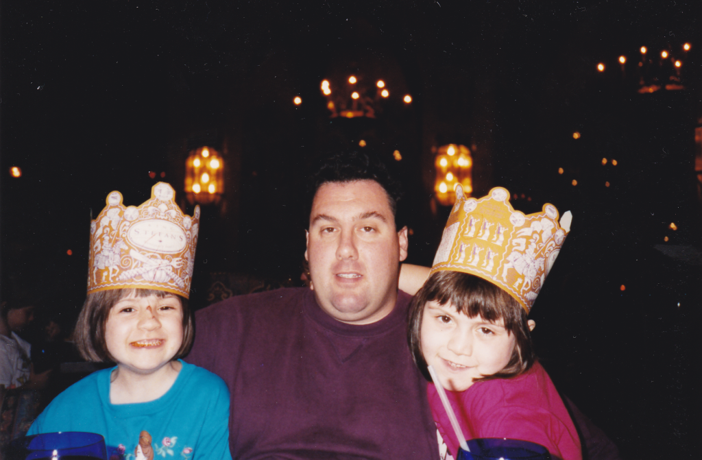 Walt Disney World Cinderella Castle dinner 1994 Gary Cacolice, daughters Amber and Katy