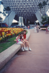 Amber, Katy and Mom in front of Spaceship Earth, Epcot, 1994