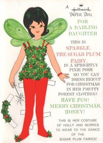 Sparkle Sugar Plum Fairy Vintage Hallmark Card Paper Doll
