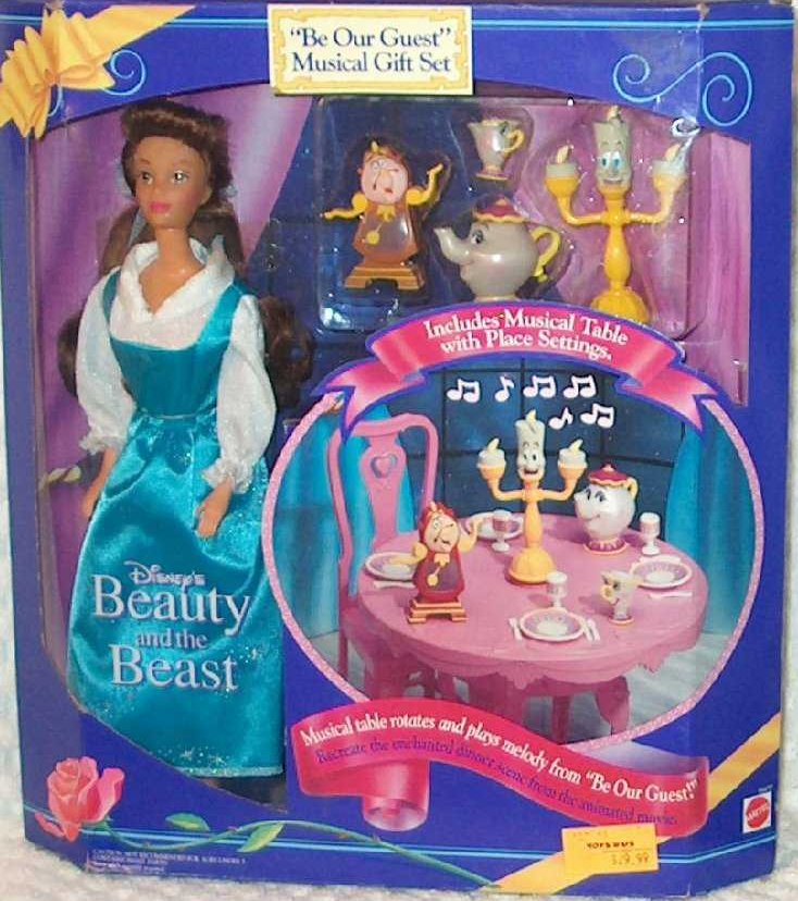 Disney Beauty and the Beast Belle and Musical Table Mattel Doll Set 1993