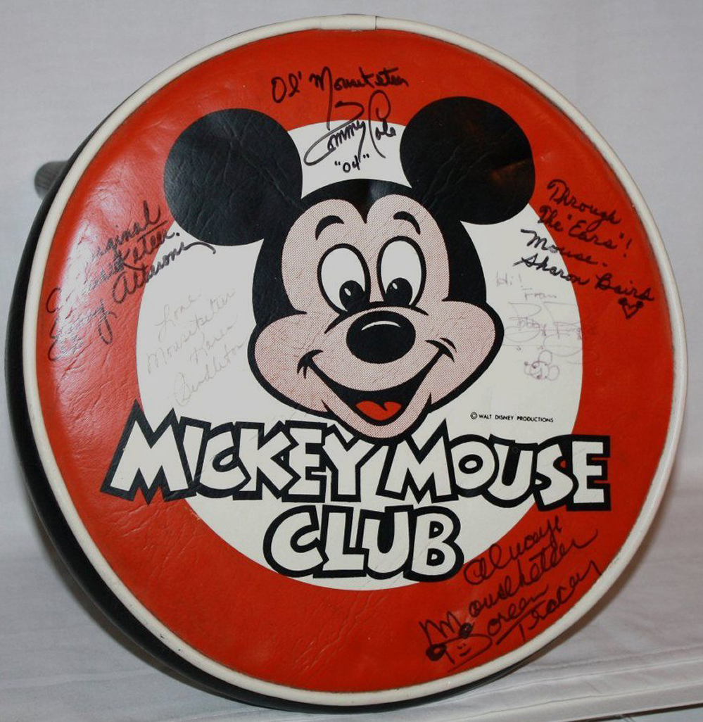 Mickey Mouse Club Vintage Stool Signed by Mouseketeers