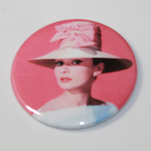 AUDREY HEPBURN MAGNET Big Pink Hat Vintage Classic Movie Star Art