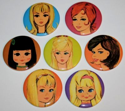 Barbie Mod Magnet Set with Stacey, Francie, Casey, Tutti, Skipper and Chris