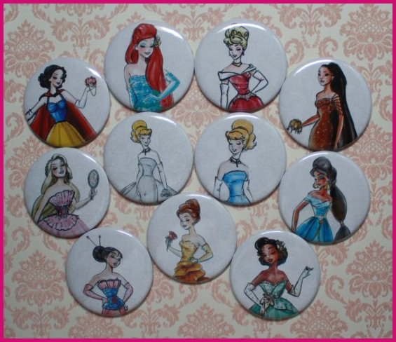 Disney Princess Designer Doll Set of 11 Magnets