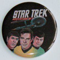 STAR TREK COLORFORMS ART MAGNET Vintage Toy Kirk Spock McCoy Pinback