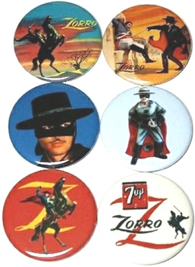 Zorro Disney with Guy Williams Vintage Lunch Box Art Magnet Set