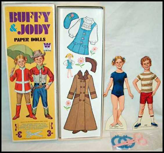 TV memorabilia,Family Affair,vintage paper dolls,paper dolls,cutouts,Buffy and Jody,Mrs. Beasley