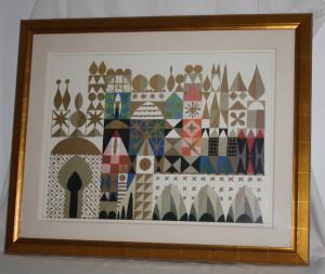 MARY BLAIR Disneyland Hotel IT'S A SMALL WORLD Framed Art Disney Lithograph
