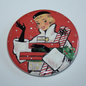 Vintage Art Lady with Christmas Presents at MisfitToys.net