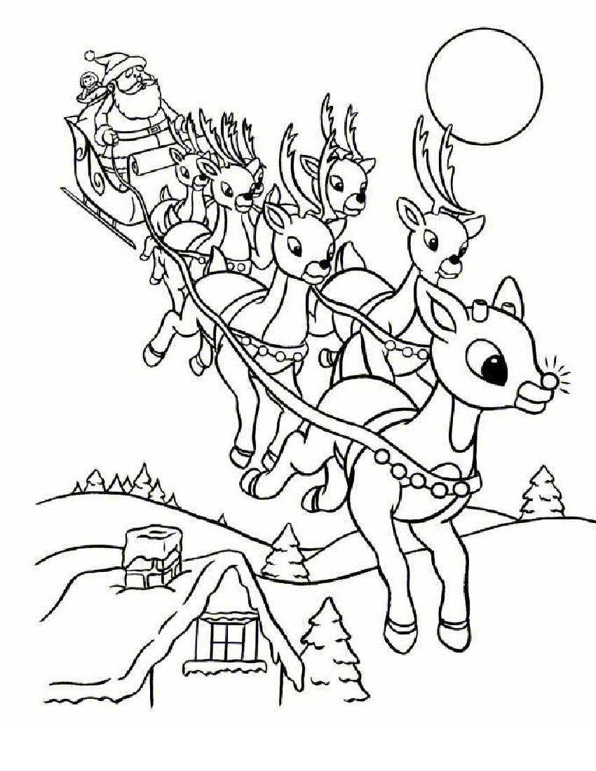 Santa Claus with Sleigh Coloring Pages